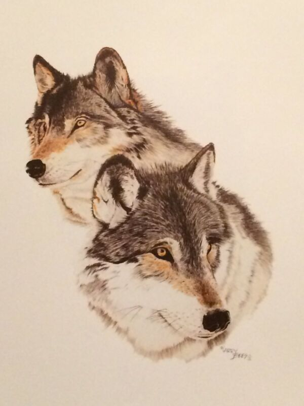 """Western Art / Wildlife-Wolves """"Alpha Pair"""" color print by artist Larry Bees"""