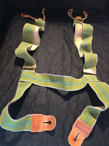vintage Suspenders men's Workwear striped Leather tab Button blue Green cross H