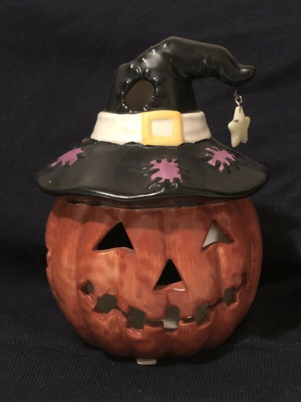 Yankee Candle Halloween Pumpkin Witch Hat Tea-light Holder and Plate Set