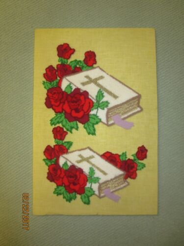 """Vintage BIBLES WITH RED ROSES Punch Needle EMBROIDERY - Mounted 12"""" x 18"""""""
