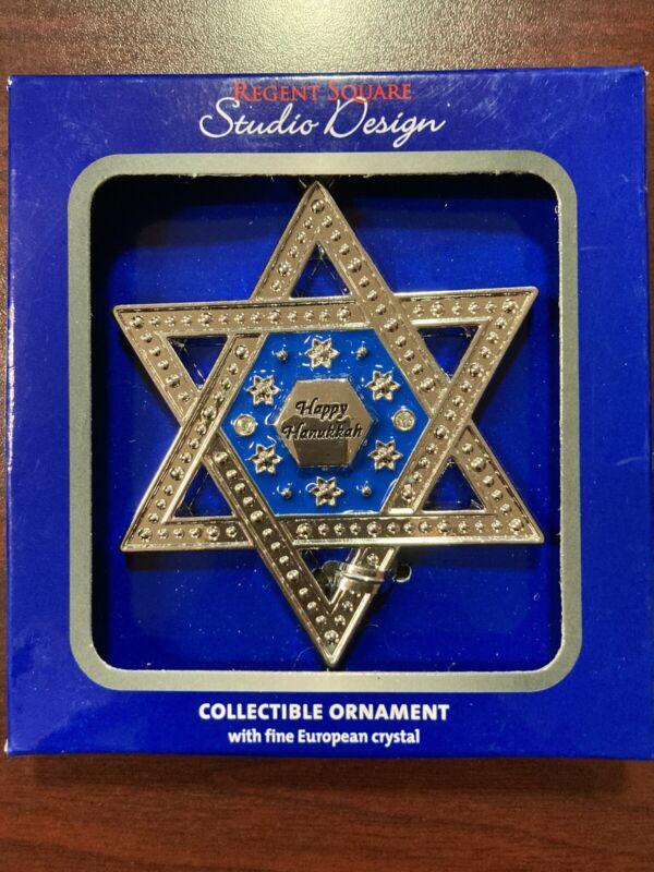 """Happy Hanukkah Ornament, , 2 1/2"""" x 3"""", Regent Square, Studio Design"""