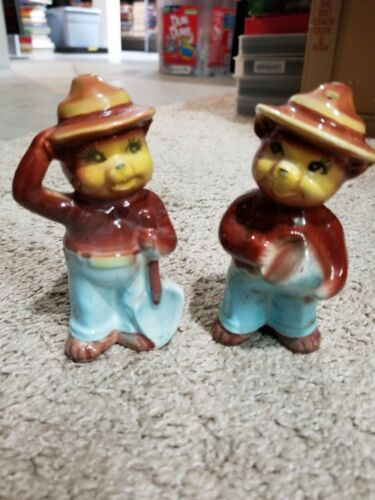 Vintage Porcelain Smokey The Bear Salt & Pepper Shakers 4 Inches