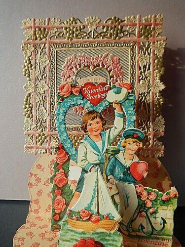 """Vintage fold-out Valentine: boys & toy ship; 6 3/4"""" by 4 1/2"""""""