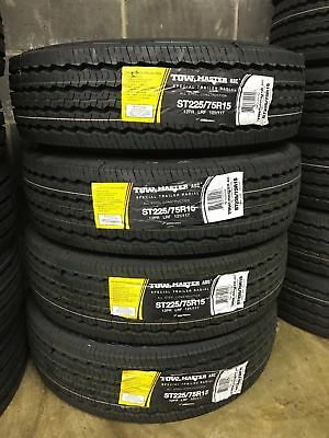 4 NEW ST225/75R15 LRF 12 PLY Tow Master Radial All Steel Trailer Tire