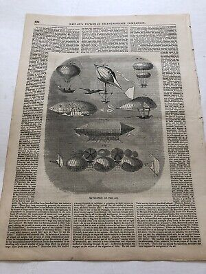 Types Of Balloons (1856 Ballous Pictorial Print Types Of Airships & Hot Air Balloons)