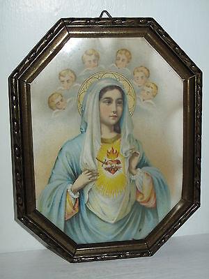 Antik Heiligenbild Schutzbild Maria +flammendes Herz Engel Shabby Chic Bild
