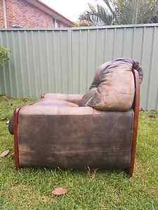 Brown Leather Single Seater Lounges SET OF 2 Salamander Bay Port Stephens Area Preview