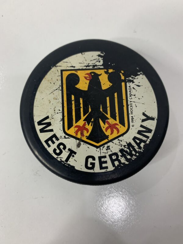 1984 CANADA CUP - WEST GERMANY original vintage hockey puck
