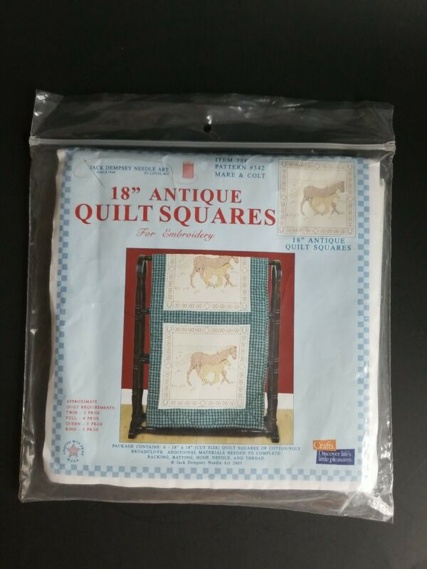 """Jack Dempsey 18"""" Quilt Squares Mare & Colt Horses Stamped for Embroidery"""