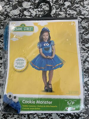 New Sesame Street Cookie Monster Dress-Up Play Costume Size Small 2T Halloween