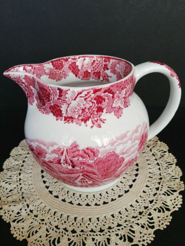 Enoch Woods Transfer English Scenery Pink Ironstone Milk Pitcher Woods Ware