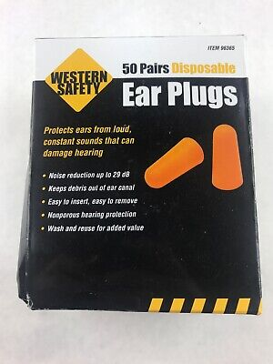 Western Safety Disposable Ear Plugs 50 Pairs Individually Wrapped 29 Decibel