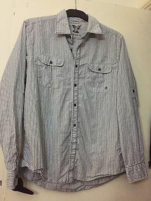 John By John Richmond Designer Shirt Long Sleeve Size Large Blue With Pinstripe