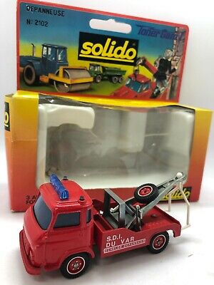 SOLIDO No. 2102 TONER GAM I FIRE TOW TRUCK TRUDEPANNEUSE POMPIERS 1:43 scale