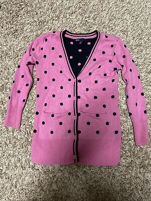 GapKids Girls Long Cotton Cardigan Pink Navy Polka Dots Pockets Sz XS