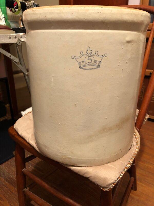 VINTAGE 5 Five Gallon Stone Pottery Crock Cobalt Blue Crown Stoneware Ransbottom
