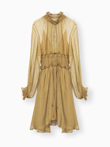 CHLOE smocked split neck dress FR 38 UK 10