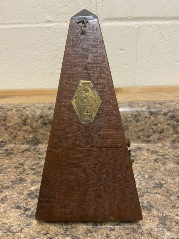 Antique Metronome De Maelzel Wood with Bell In Working Order Music Count
