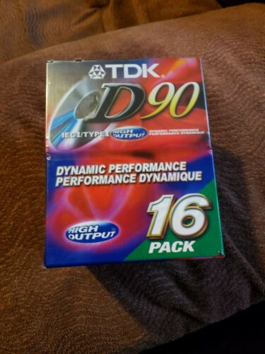 TDK D90 Blank Audio Cassette Tapes 16 Pack High Output IECI/TYPE I New Sealed