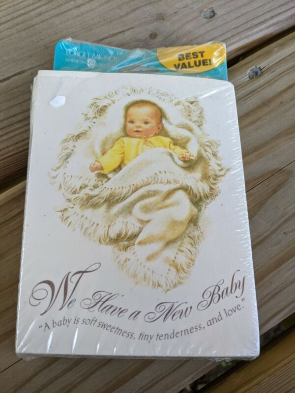 American Greetings We Have a New Baby Announcements NIP Vintage Style
