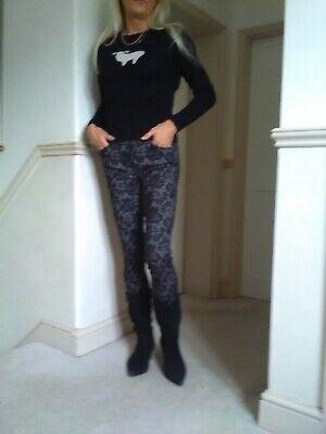 Fabulous iBlues Black & Grey Brocade Trousers size 8 £155 vgc hardly worn