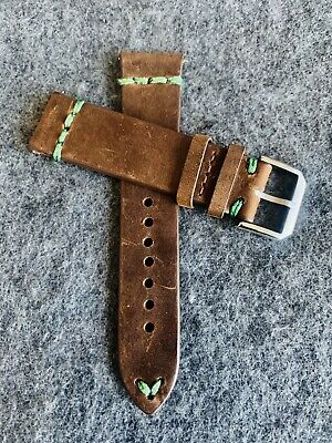 22mm DARK BROWN Vintage Crazy Horse Leather Watch Strap Band GREEN Stitch QR Dark Brown Leather Band