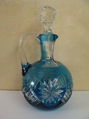 Carafe - Décanteur à alcool - Doublée Bleue - Cristal Val Saint Lambert - 1908
