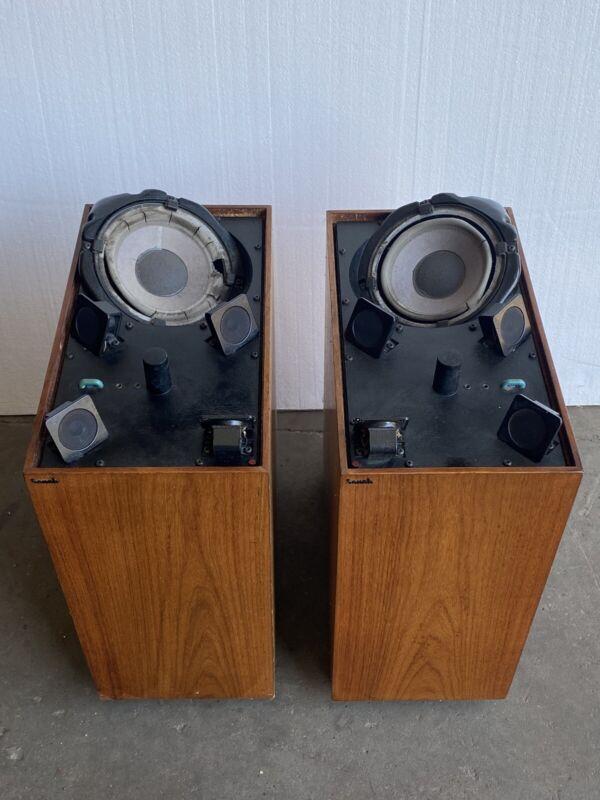 Vintage SONAB Teak Floor Speakers OA-14 A Pair Made In Sweden