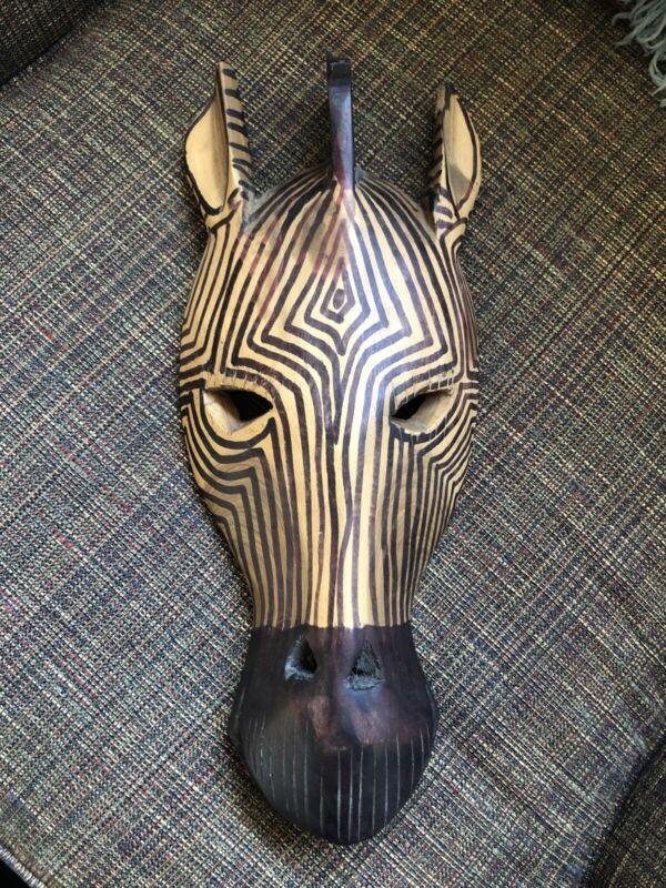 "Wooden Hand Carved Figurine Zebra 16"" X 6"""