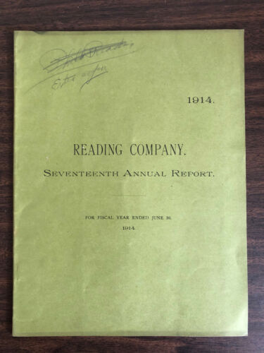 1914 17th Annual Report Reading Company Map Lines Owned & Leased P&R RY CO
