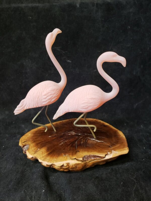 Mid Century Modern John Perry Tabletop 2 Flamingo Sculpture on Burl Wood