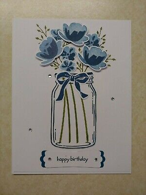 - Handmade HAPPY BIRTHDAY card kit, Stampin Up! Jar of Love, Dapper Denim Bouquet-