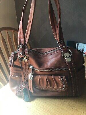 B. Makowsky Large Light Brown Leather Shoulder Handbag Hobo Zip Decoration EUC