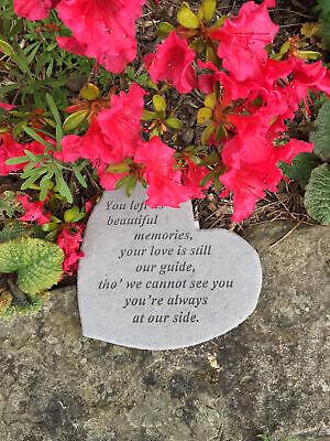Heart Memorial Garden Stone Plaque Grave Marker Ornament Beautiful Memories