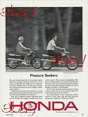 1965 Honda Sport 65 Motorcycle Ad Vintage Magazine Advertisement S-65 65cc