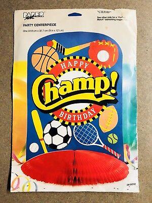 CHAMP Sports Athlete Balls Decorations Center Piece Party Decor Centerpiece Vtg