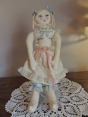 Handmade Vintage Cloth Doll Embroidery w/ Metal Stand