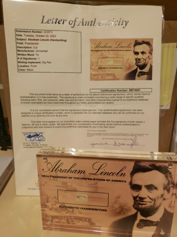 """President Abraham Lincoln Signed Cut Handwriting Autographed """" to """" JSA LOA"""