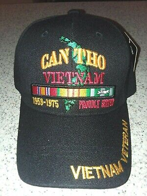 VIETNAM VETERAN CAN THO PROUDLY SERVED 1959-1975 WITH RIBBONS ADJ BACK BLACK CAP