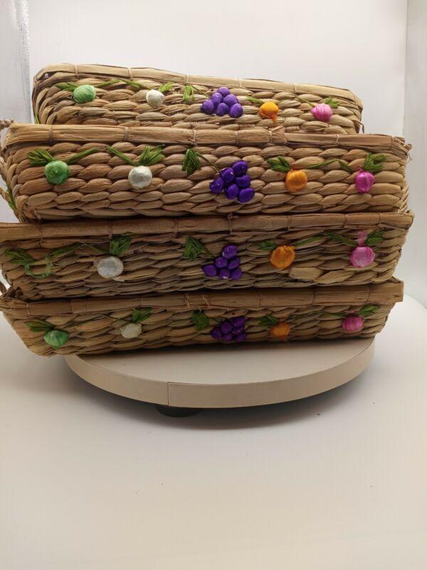 Vintage Woven Raffia Straw Pyrex/Casserole Nesting Basket Trays, Fruit, Set of 4