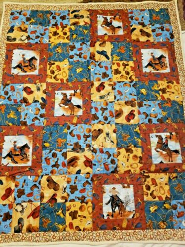 Handmade Cowboy Patchwork Quilt Blanket Baby Toddler Child Lap Squares Boots