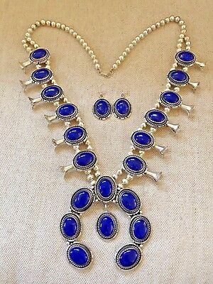 Lapis in Sterling Silver Squash Blossom Necklace and Earrings by Robert Kelly