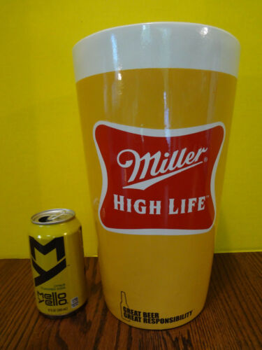 "RARE CERAMIC MILLER HIGH LIFE BEER MEGA TUMBLER / GLASS ~Over 12"" Tall"