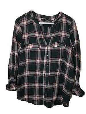 Zara Plaid Flannel Top Green/Red/White Size S NEW WITHOUT TAGS