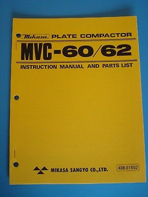 Mq Mikasa Plate Compactor Mvc-6062 Instruction And Parts List Manual