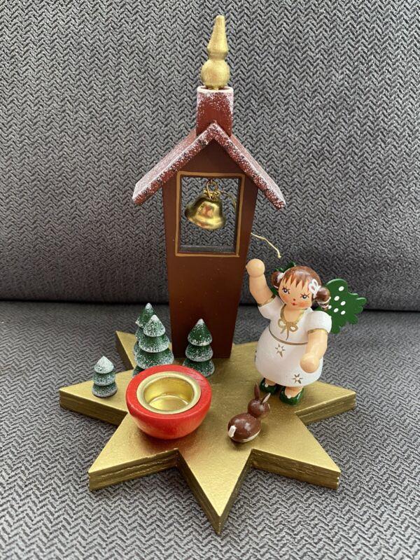 Kathe Wohlfahrt Christmas Angel & Belltower Candleholder Erzgebirge Rothenburg