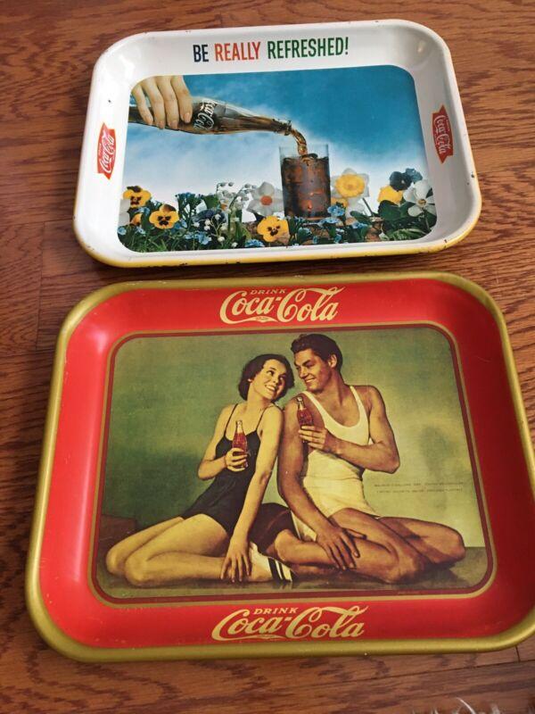 "Vintage ""Drink Coca-Cola"" Tin Serving Trays Set of 2 ~13x10.5"""