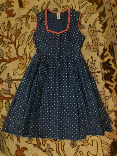 Vintage Womens Blue Pink Flower Print Traditional German Austrian Dirndl Dress