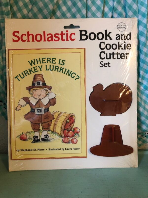 Vtg Scholastic Book and Cookie Cutter Set Where is Turkey Lurking Thanksgiving