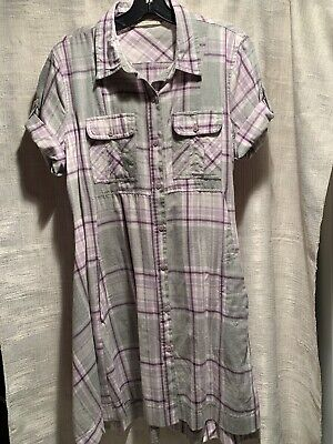 Hippie Laundry Gray Purple Shirt Dress Short Sleeve  Size Large 100% Cotton Cotton Hippie Shirt
